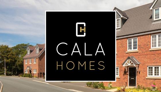 Cala Homes logo overlayed on an image of houses